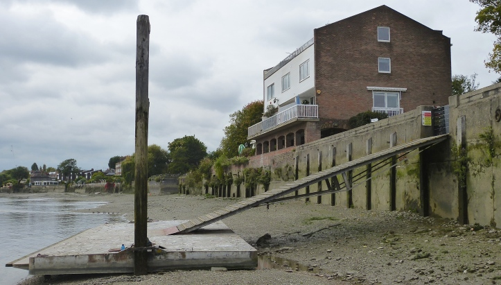 Pic 7. The site of the Bemax factory today. The pontoon and ramp belong to Sons of the Thames Rowing Club.