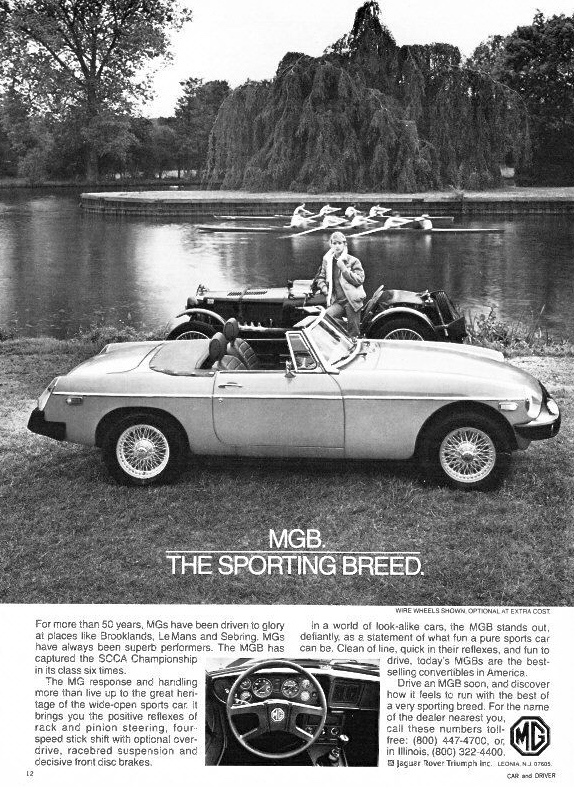 Pic 8. 1980: MG tries to sell to America using the appeal of heritage in both cars and sport. Approaching the end of the island at Henley is a coxed four verses a coxless four race.