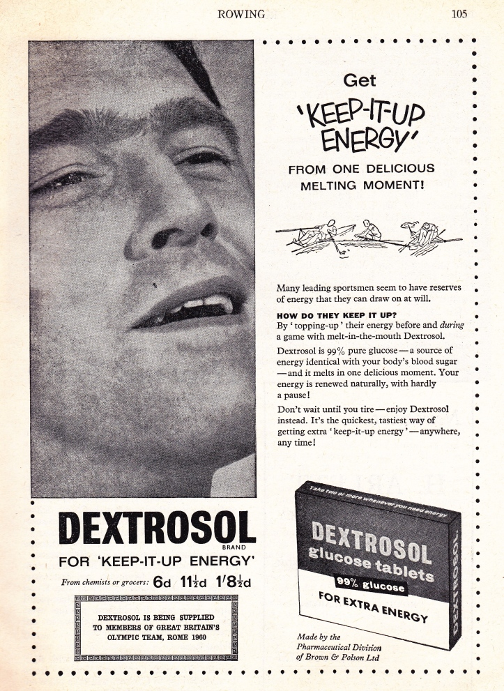Pic 8. An ad from more innocent times featured in Rowing magazine in 1960. The tag line 'keep it up energy' would probably not be used for most products today. Also, the picture of a man seemingly engaged in some private act is a little peculiar.