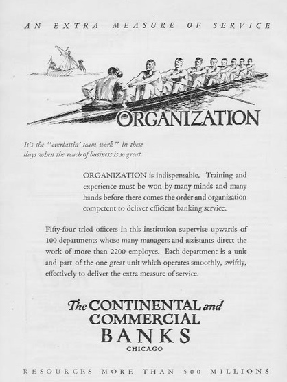 Pic 9. 1924: The Continental and Commercial Banks of Chicago proclaim the virtues of 'everlasting team work'.