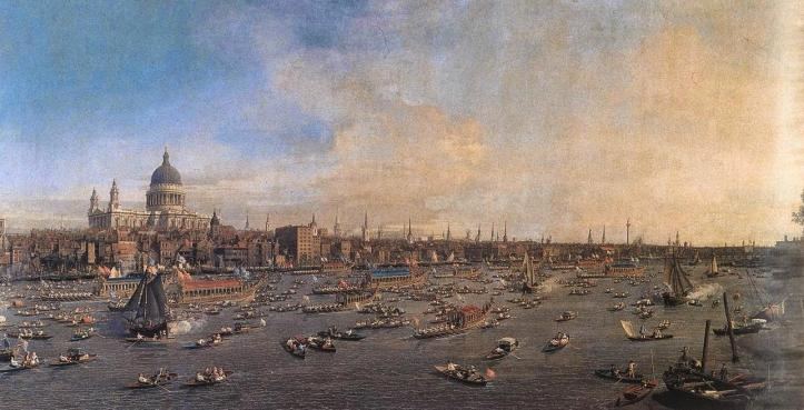 "1746 Canaletto ""The River Thames with St. Paul's Cathedral on Lord Mayor's Day""."
