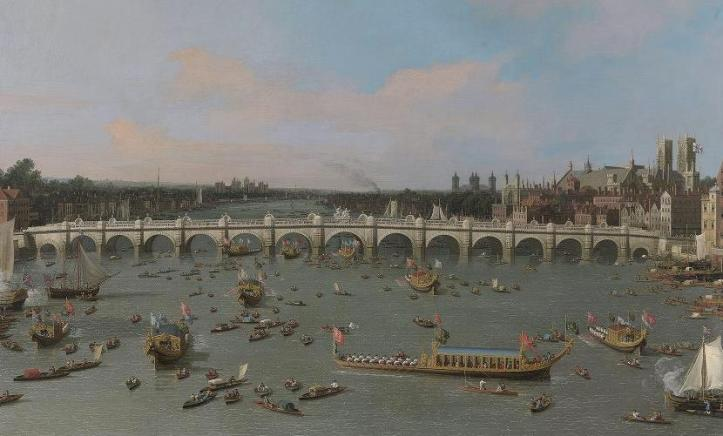 Canaletto's Westminster Bridge, with the Lord Mayor's Procession on the Thames – 29 October 1746. Yale Center for British Art, Paul Mellon Collection