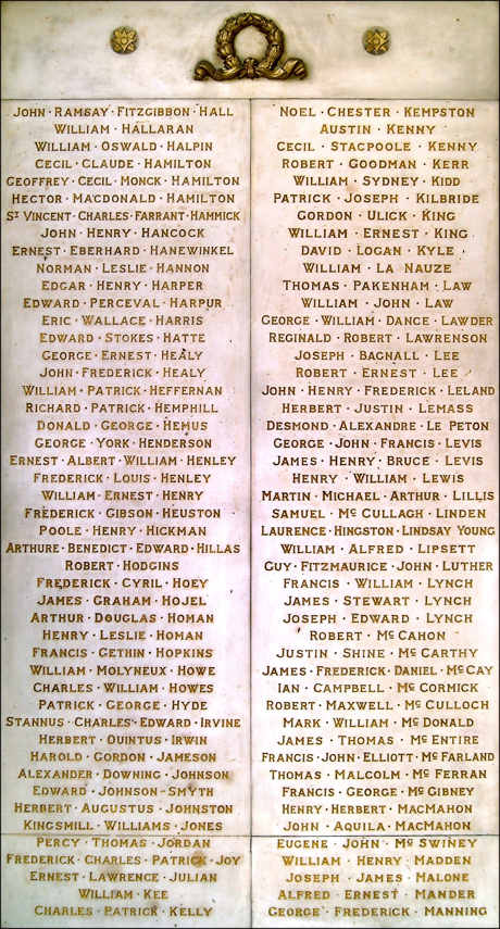 Ernest Lawrence Julian named on one of the panels at the First World War 'Hall of Honour', Trinity College, Dublin.