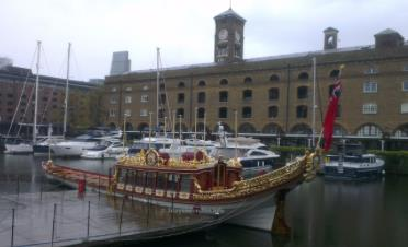 Gloriana, the Queen's Royal Barge, marooned at St Katherine Docks.