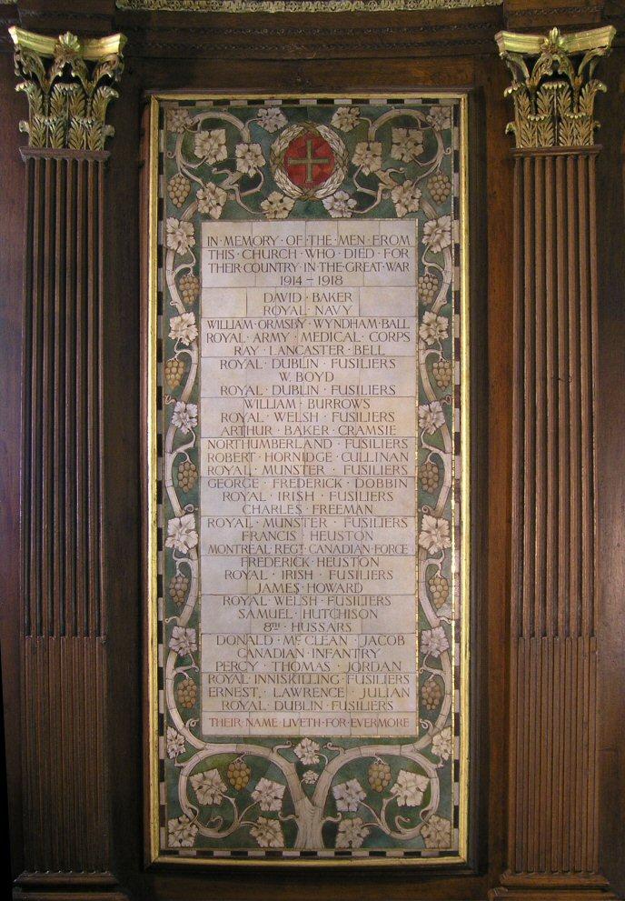 Great War Memorial, St. Ann's Church, Dawson Street, Dublin.