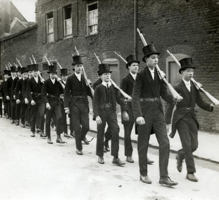 Pic 1. Boys of Eton's Officer Training Corps at drill, 1915.