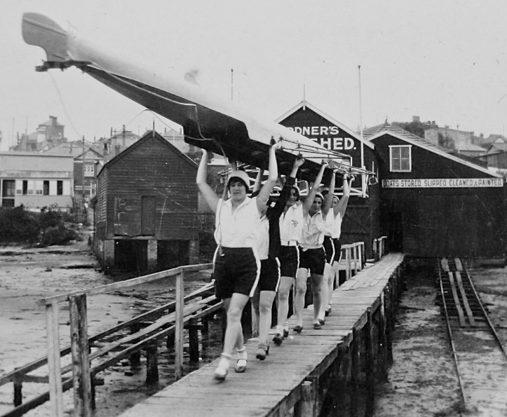 Pic 15. A Young Women's Christian Association (YWCA) crew rowing out of Gardner's Boathouse, Sydney, Australia. It is difficult to date, but I would guess that it is from the 1930s or 1940s.