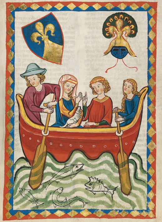 Pic 1. A picture from the Codex Manesse which was produced between 1310 and 1340. It is intriguingly titled Lord Niune rowing with his mistress (though I presume that it is his manservant and her maid that are doing the actual rowing). They are using what at first look like paddles, but they must be oars as they are in rowlocks of some kind, possibly made of rope. Is this the earliest representation a woman rowing?