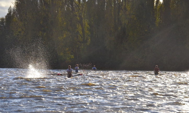 Pic 19. Making a splash in Corney Reach, left to right: Kelly, Hale, Richards and Wells.