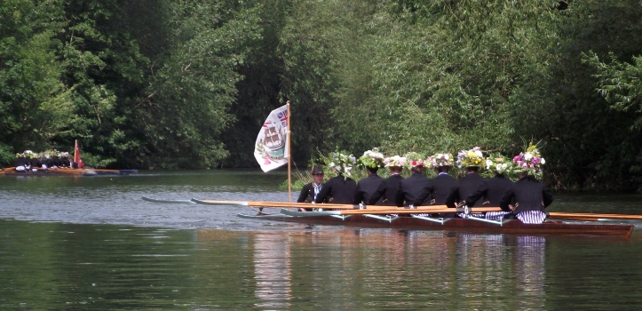 Pic 2. Part of the 2011 Procession of Boats. The boat Victory is on the right, the boat Monarch is on the left.