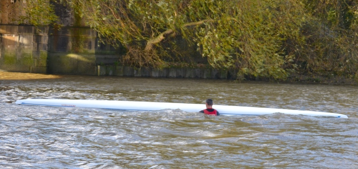 Pic 21. Downstream of Barnes Bridge, Captain Wells goes down with his ship. Fortunately, he came up again, got back in and carried on racing (perhaps only what you would expect from someone who holds the Queen's Commission).