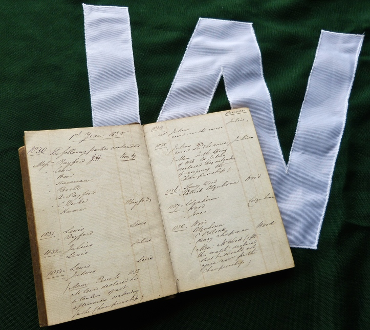 Pic 24. Resting on the Wingfield Sculls flag, Henry Wingfield's record book shows the results of the first nine races, 1830 to 1838. He decreed that the race should be held annually 'for ever'. That's a long time……