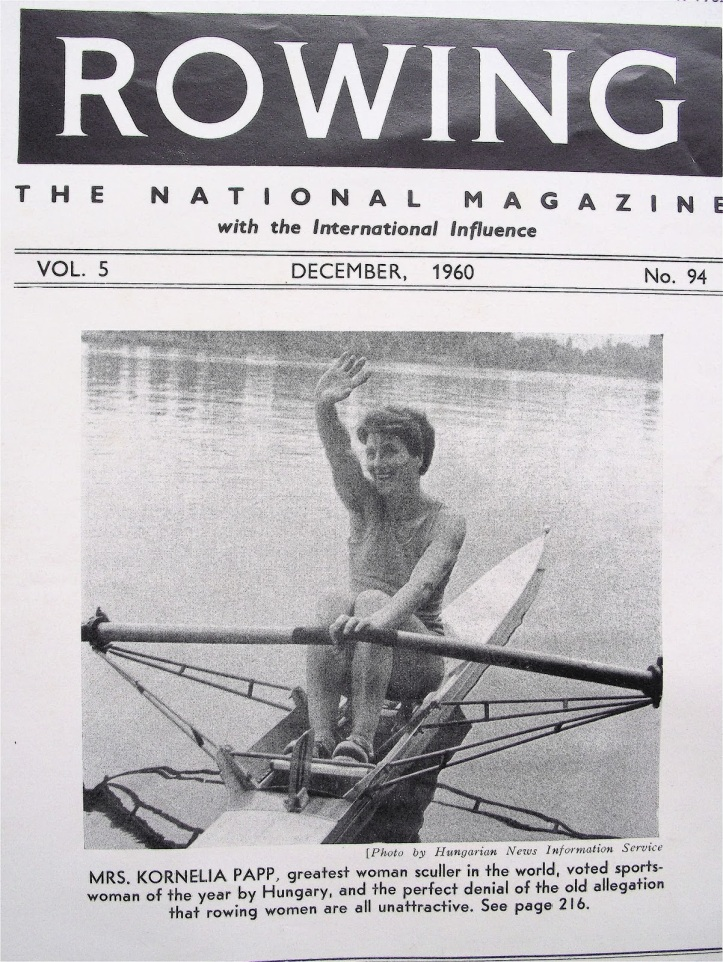 Pic 5. The cover of Rowing magazine for December 1960. The picture is fine – but read the caption (click to enlarge). To be fair to the magazine's publishers, this was a perfectly normal attitude for the time.
