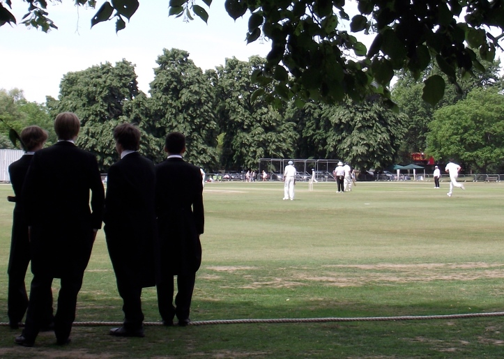 Pic 7. The playing-fields of Eton. Boys v Old Boys cricket match on the 'Fourth of June' 2011. Eton summer sport is divided between the 'Wet Bobs' who row and the 'Dry Bobs' who play cricket.