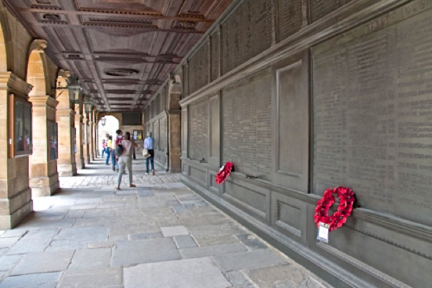 Pic 9 The cloister at Eton containing the school war memorials.
