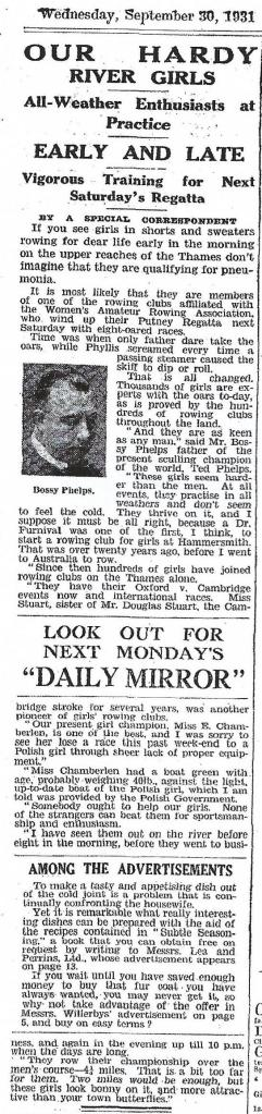 1931 Daily Mirror article, in which Bossie Phelps mentions Yvonne Stuart.