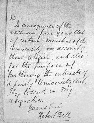 One of the letters of resignation from Dublin University R.C. which led to the formation of Dublin University Boat Club in 1867.