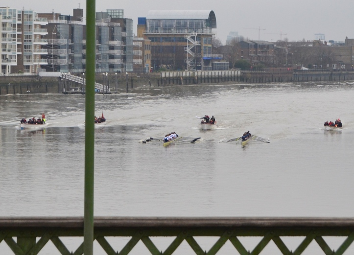 Pic 4. As the Oxford trial approaches Hammersmith Bridge, 'Pleasure (left) leads 'Business' (right).