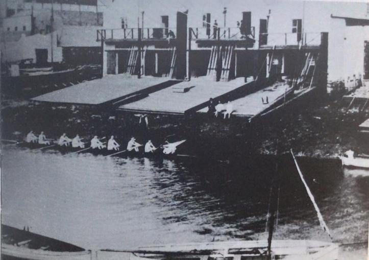 The crowded boat houses fronting on to the River Dodder, Ringsend, Dublin – Home of Pembroke R.C.