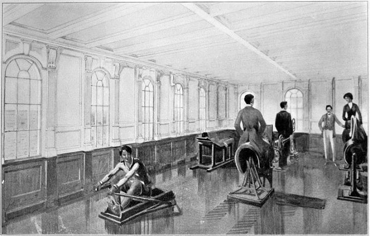 Titanic's gymnasium on the Boat Deck, which was equipped with the latest exercise machines.
