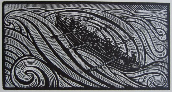 """René Quillivic's woodcut """"La vague"""" (1929)."""