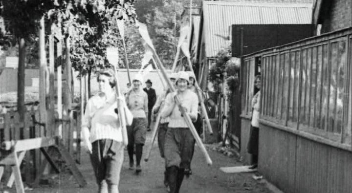 Yvonne Stuart front left before the training row in 1921.