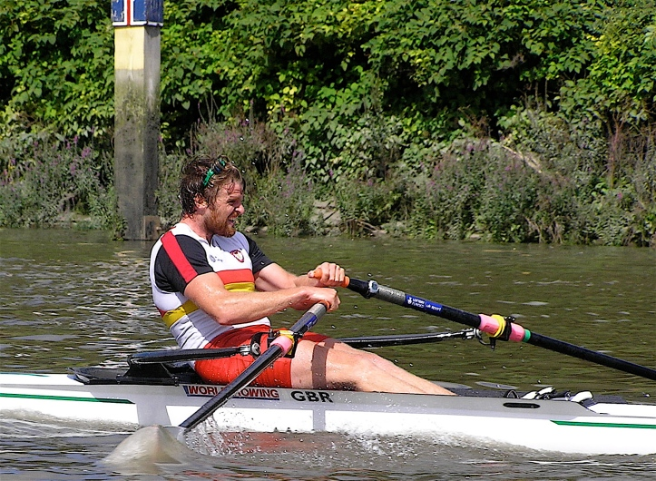 Pic 1. Alan Campbell of Tideway Scullers passing the winning post in the 2010 Wingfield Sculls.