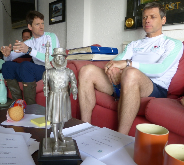 Pic 2. Pictured just before the 2015 Veterans' Boat Race, Steve Fowler (left) and Matt Parish (right) contemplate a trophy from sometime between 1987 and 1998 when the Boat Race was sponsored by Beefeater Gin.