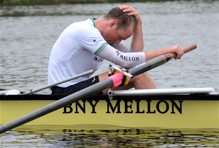 Pic 4. The luckless Luke Juckett who crabbed and broke his rigger in the 2014 race, displays sponsors name BNY Mellon five times in this picture.