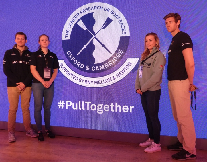 Pic 6. The new logo with OUBC and OUWBC Presidents Morgan Gerlak and Maddy Badcott on the left and CUBC President Henry Hoffstot and CUWBC member Alexandra Wood on the right.