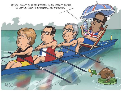 "Cartoonist 'Kak""s take on Brexit in the French newspaper L'Opinion which has increased HTBS's readership by the hundreds since the cartoon was first published in late February. Courtesy of 'Kak'."
