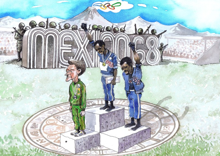 The famous protest on the 1968 Olympic 200m medal podium. Illustration by Chris Grosz.