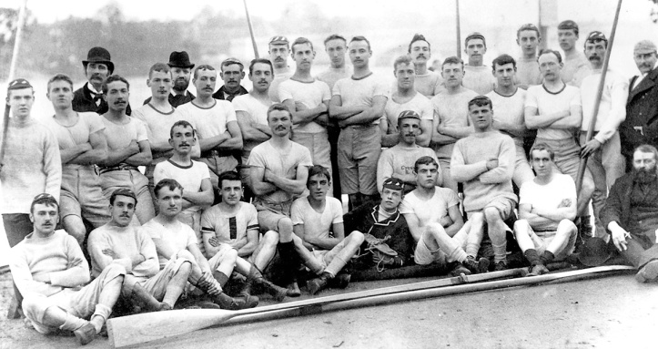 Pic 2. Members of Cygnet Rowing Club in its first year of existence in 1891. It was then based on the Putney Embankment, initially rowing out of Thompson and Bowers Boathouse, then Alexander's from 1891 and then Aylings from 1898. In 1904, Cygnet made a controversial move away from Putney to Biffen's in Hammersmith.