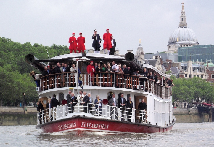 Watermen are amongst both passengers and crew as the P.S. Elizabethan follows the 2012 Doggett's Coat and Badge race.