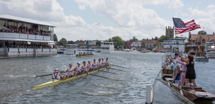 "Henley, England. ""All American Affair"" Final of the Ladies Challenge Plate, left lane, Yale University USA. take a win against University of Washington, USA. in the first race of the afternoon programme at the 2015 Henley Royal Regatta, Henley Reach, River Thames. 14:37:27 Sunday 05/07/2015 [Mandatory Credit. Peter SPURRIER/Intersport Images. . Empacher."