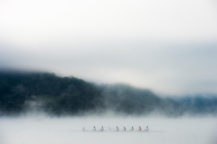 Aiguebelette, FRANCE, RUS M8+. training on the Lac d'Aiguebelette. in early morning misty conditions 2015 FISA World Rowing Championships, Venue, Lake Aiguebelette - Savoie. Sunday 06/09/2015 [Mandatory Credit. Peter SPURRIER/Intersport Images].