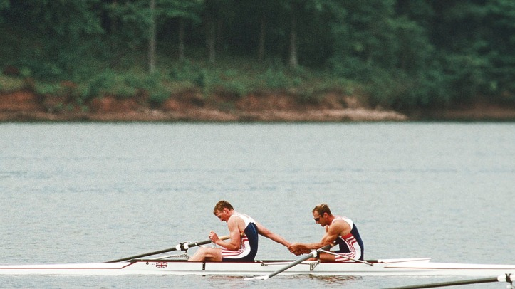Atlanta, United States of America. GBR M2- Stenem REDGRAVE and Matthew PINSENT. Gold medalist. Men's pair 1996 Olympic Regatta, Lake Lanier, Gainesville. Georgia. [Mandatory Credit: Peter Spurrier: Intersport Images]