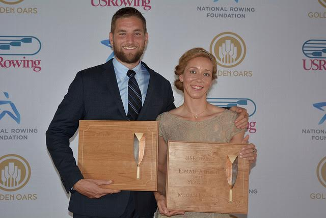 At the USRowing's 2015 Golden Oars event in November, Seth Weil and Megan Kalmoe were appointed the 2015 Male Athlete of the Year respectively Female Athlete of the Year. Their awards were made by wood carver Roman Horoszewski.