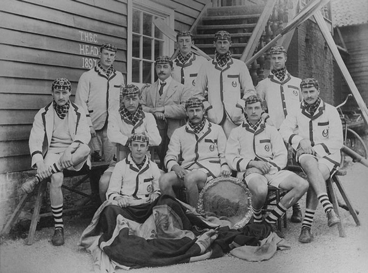 The 1897 Trinity Hall crew that won the Head of the River in their blazers or boating jackets. From Göran R Buckhorn's book A Yank at Cambridge – B.H. Howell: The Forgotten Champion. (Photo courtesy of the Master and Fellows of Trinity Hall, Cambridge University.)