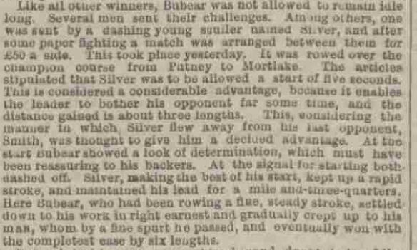 Article about Daniel Silver's sculling match, 1882 (The British Newspaper Archive).