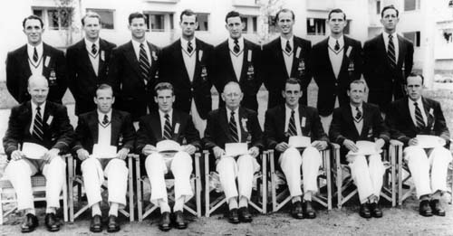 Caption: Greenwood (back row 4th from left) in the 1952 Olympic squad.