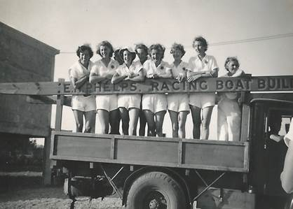 A true amateur team: England women's rowing team at Macon in 1951. Photo courtesy of Clive Radley.