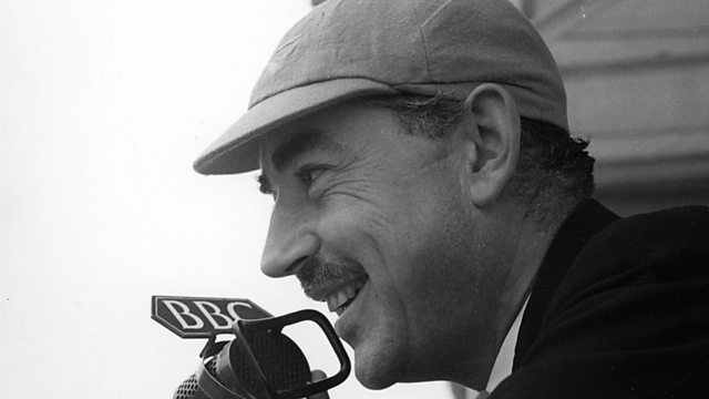 John Snagge, complete with Leander cap, the 'Voice of the Boat Race' between 1931 and 1980. He was never required to appear with a music hall comedian.