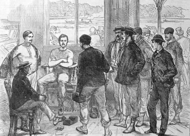 Pic 1. The 1874 Boat Race weigh-in, probably at London Rowing Club. The average weight that year was 11 stone 11 pounds which equates to 165 lbs or 74.84 kgs – almost the same as the 2016 Cambridge women's crew.