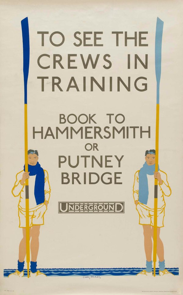 Pic 1. Until the 1939-1945 War, Tideway Week was a very big spectator event and police were needed to keep the crowds out of the way of the crews. This London Transport poster of the 1930s reflects the interest that a well-informed general public had in the Oxford-Cambridge Boat Race.