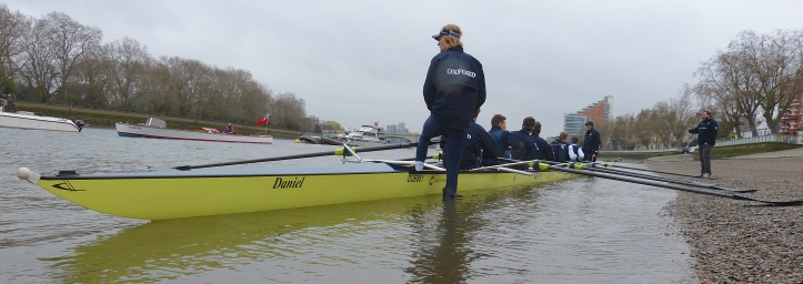 Pic 1. On Friday, Oxford christened their new Empacher 'Daniel' after Daniel Topolski, the charismatic coach who guided Oxford to ten consecutive victories in the Boat Race and who died in February 2015.