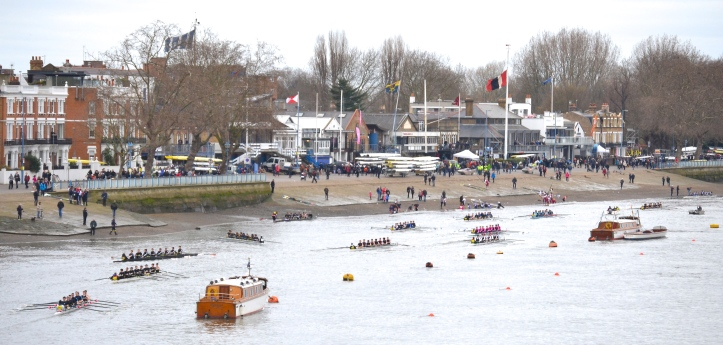 Pic 22. Putney Embankment, the scene of the University Boat Races in a week's time.