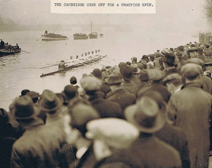 Pic 2. Cambridge at Putney in 1932 – but this is not Boat Race Day, the crew is simply on a training outing. This is a typical crowd that would be present every day of Tideway Week.