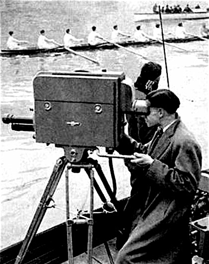 The first television broadcast of the Boat Race was in 1938. This shows a TV camera in action in 1949.