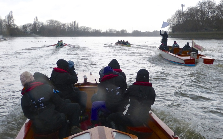 Pic 4. The Cambridge women's trial boats at the end of Putney Embankment.